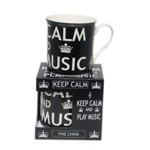 Mug - Keep Calm and Play Music - Black .